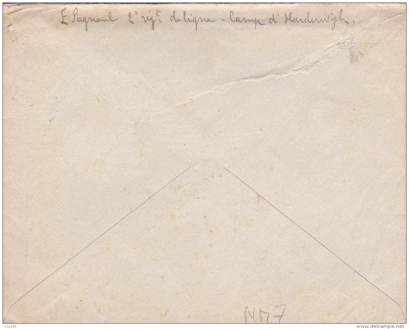 Lettre En FM Avec Courrier écrit Par Un Prisonnier Français Interné Aux Pays-Bas En 1915 CaD De Harderwijk - WW I