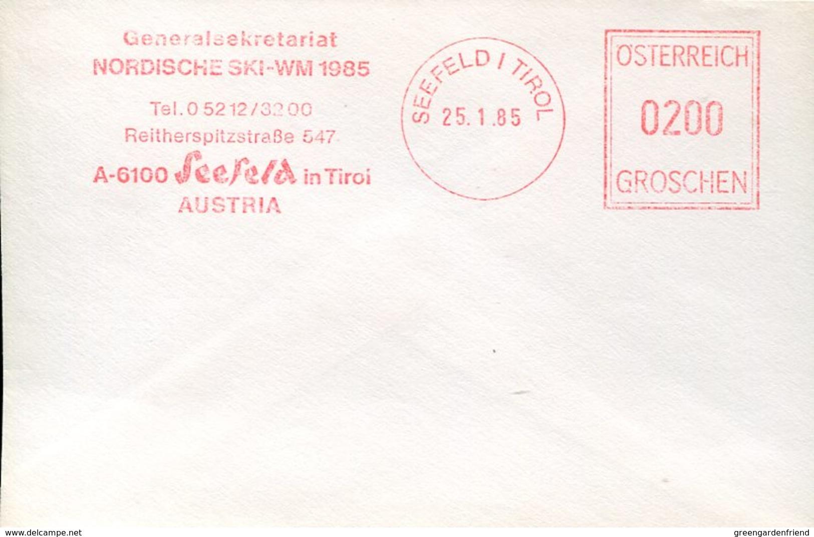 33890 Austria, Red Meter/freistempel/ema/seefeld Tirol 1985 Nordiske Ski WM 1985 - Poststempel - Freistempel