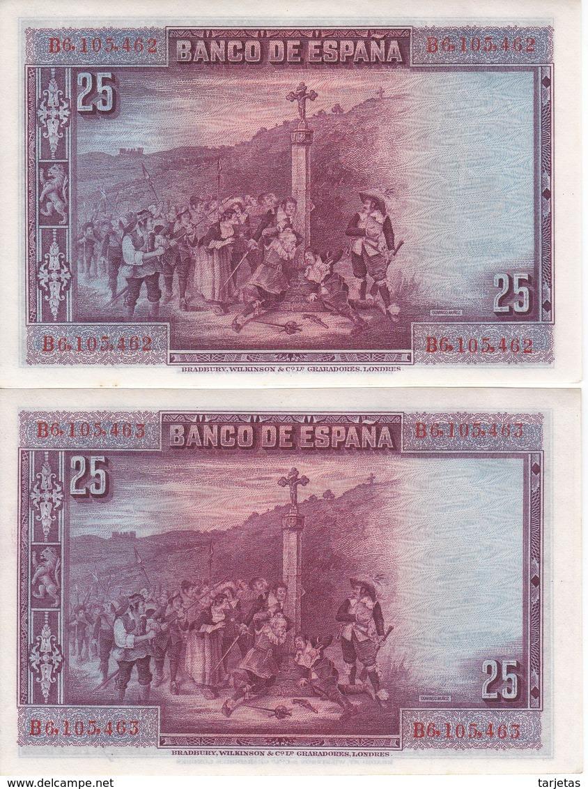 PAREJA CORRELATIVA DE 25 PTAS DEL AÑO 1928 SERIE B SIN CIRCULAR-UNCIRCULATED  (BANKNOTE) - 1-2-5-25 Pesetas
