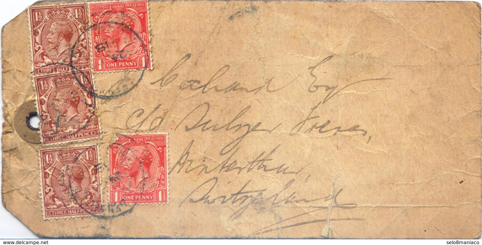 C2544-UK-PERFIN Parcel Post Label From Newcastle To Switzerland-1918 - 1902-1951 (Koningen)