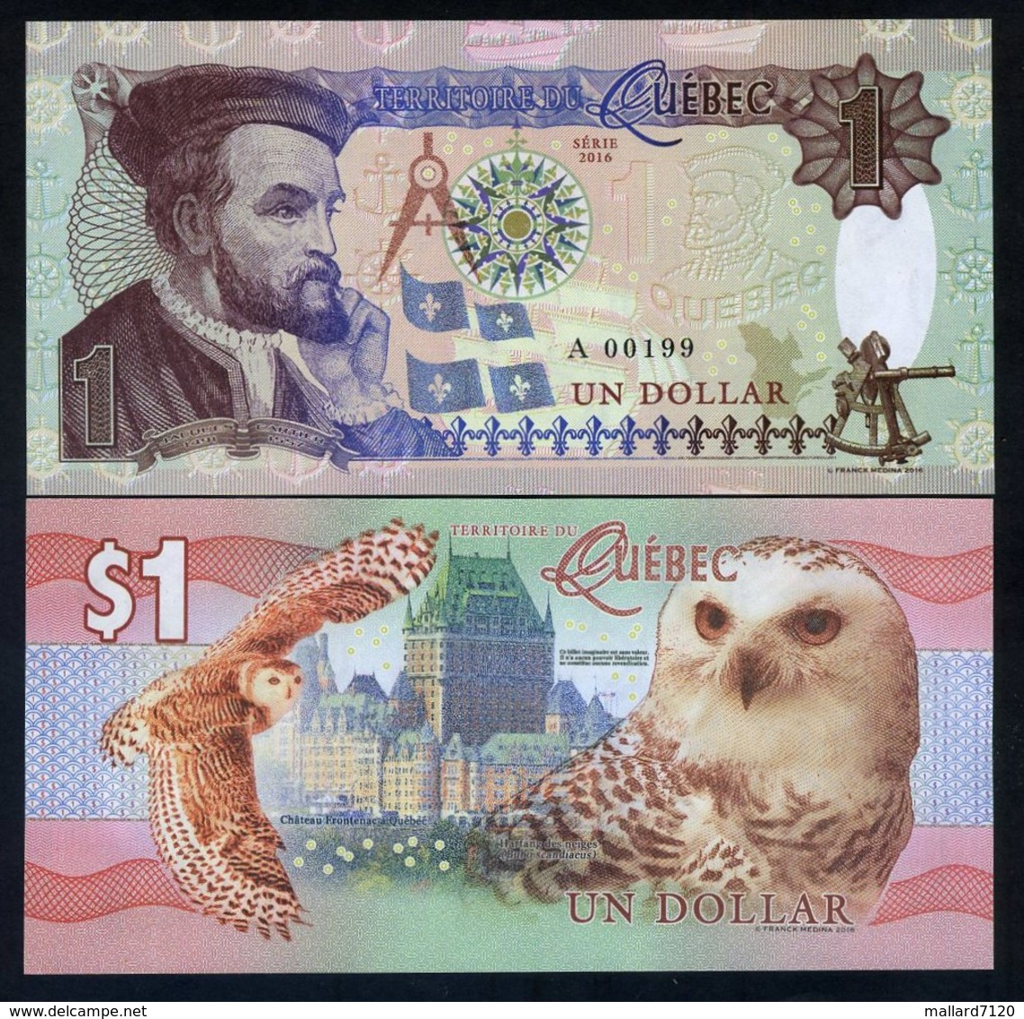 Quebec, Canada, $1, 2016, Private Issue, Essay UNC - Snow Owl, Jacques Cartier - Autres