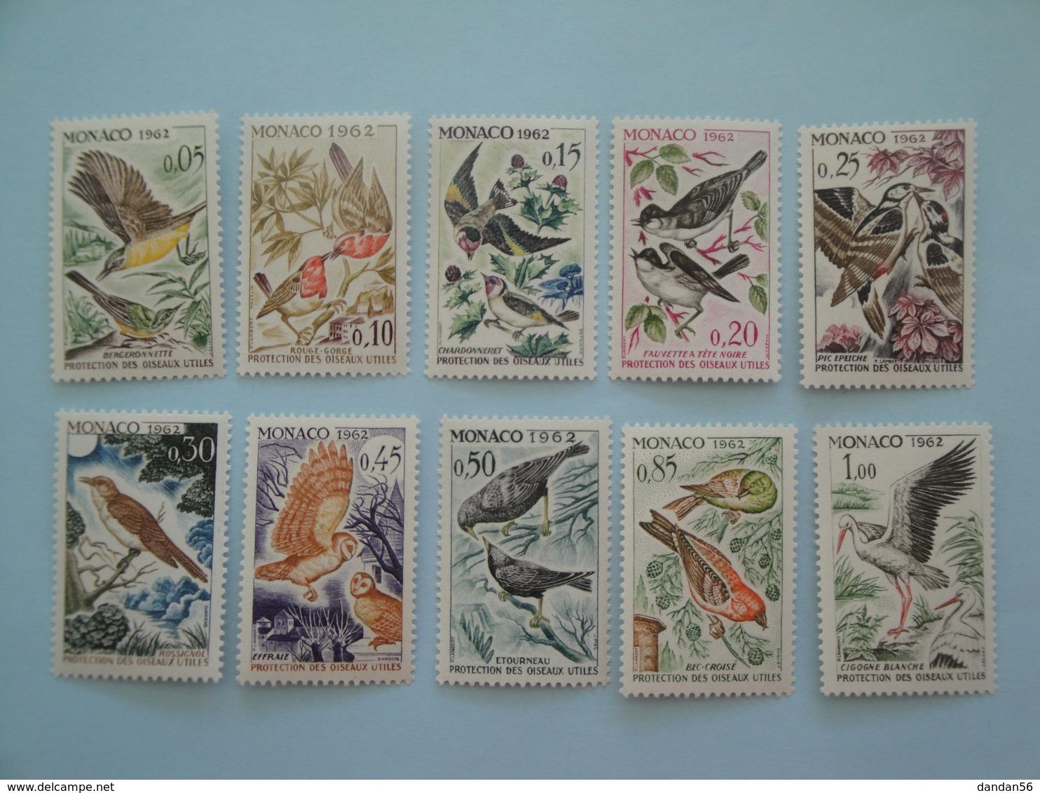 1962 Monaco Oiseaux Birds Yv 581/90 ** Scott 511/20  Michel 700/9  SG 730/9 - Oiseaux