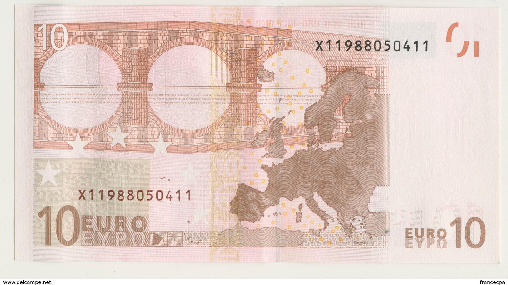 04 - BILLET 10 EURO 2002 NEUF Signature Wim Duisenberg N°  X11988050411 - Imp R012D4 - EURO