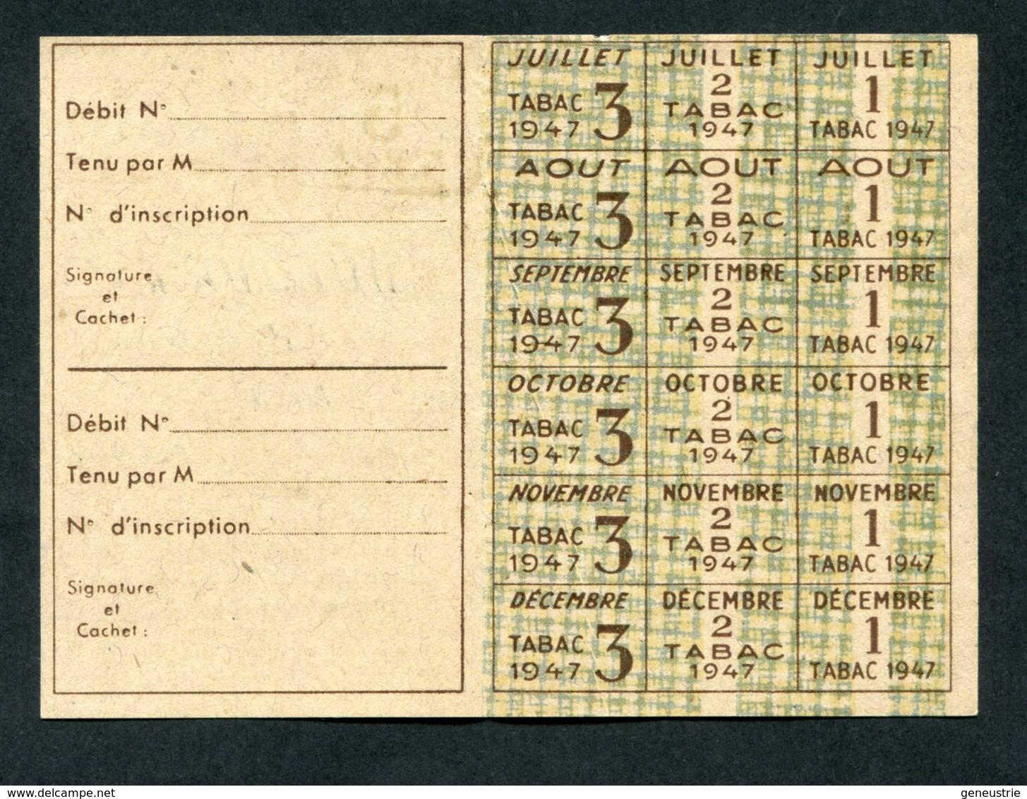 "WWII Carte D'alimentation - Carte De Tabac - Ticket De Rationnement - Nice - Alpes-Maritimes 1947"" WW2 - Documents"
