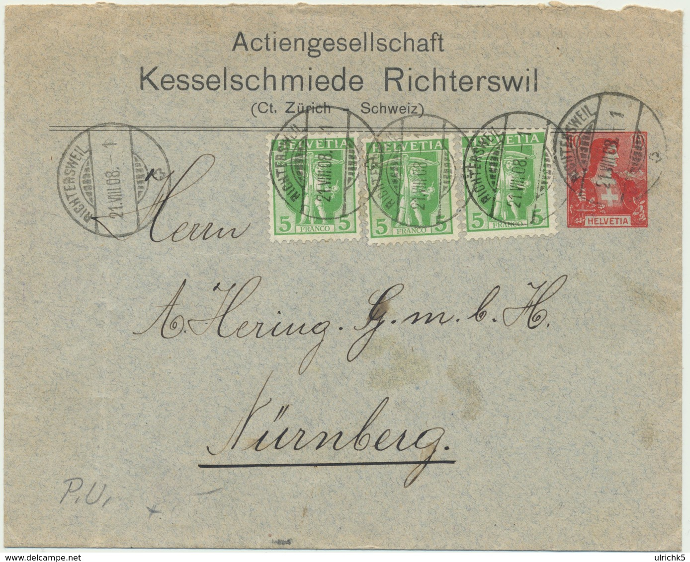 Ganzsache Schweiz Kesselschmiede Richterswil - Nürnberg - Entiers Postaux