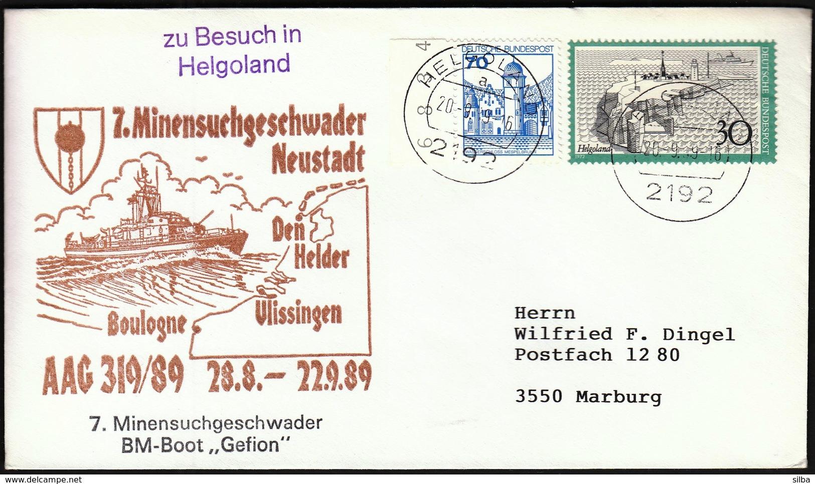 Germany Helgoland 1989 / Ship, Schiff, Shiffe / 7. Minensuchgeschwader Neustadt / BM Boot GEFION - Bateaux