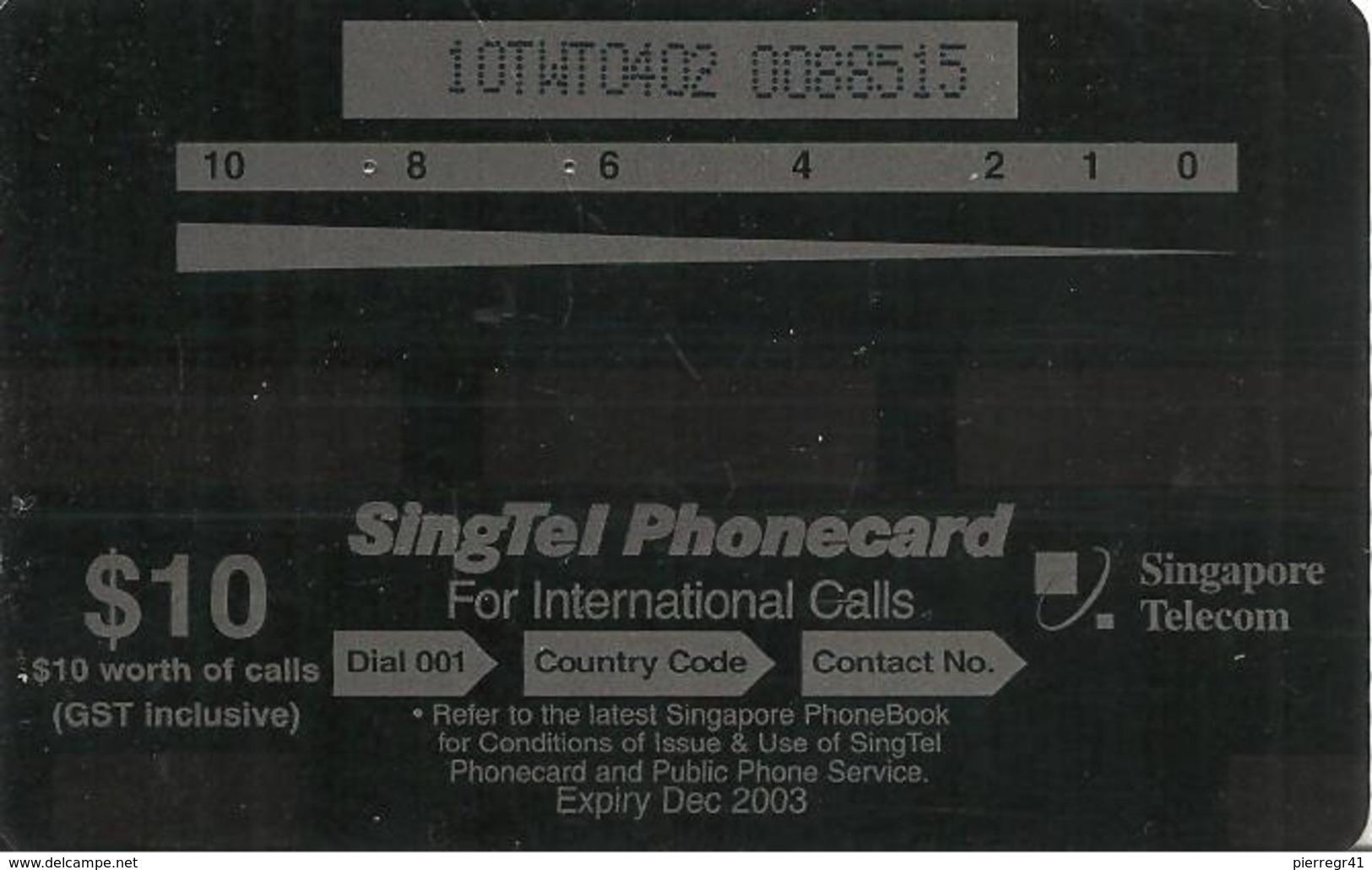 CARTE-MAGNETIQUE-2003 -10$-SINGAPOUR-WORLD TREASURE/POISSONS-CORAIL-TBE-RARE - Singapour