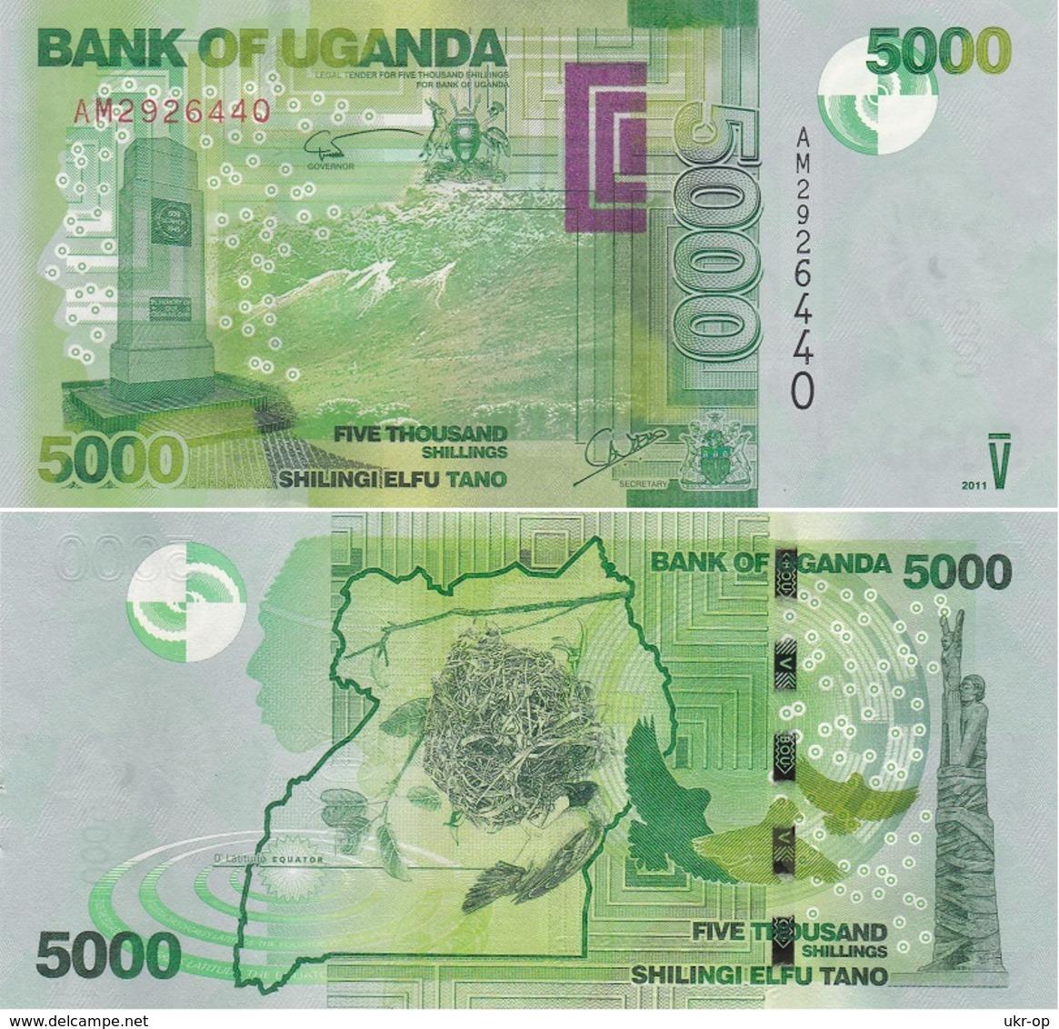 Uganda - 5000 Shillings 2011 AUNC W/holes Ukr-OP - Uganda