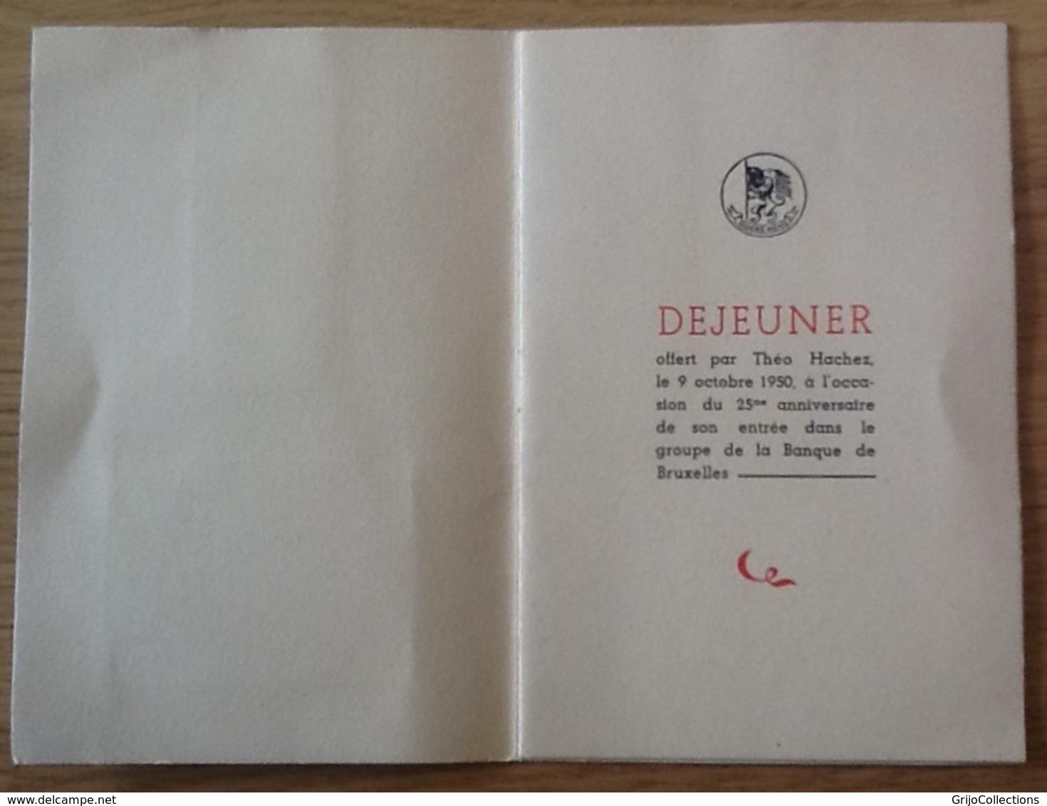 Déjeuner Offert Par Théo Hachez. Avec Signature De Mr. Hachez. 1950. Ménu. Banque De Bruxelles. - Bank & Insurance