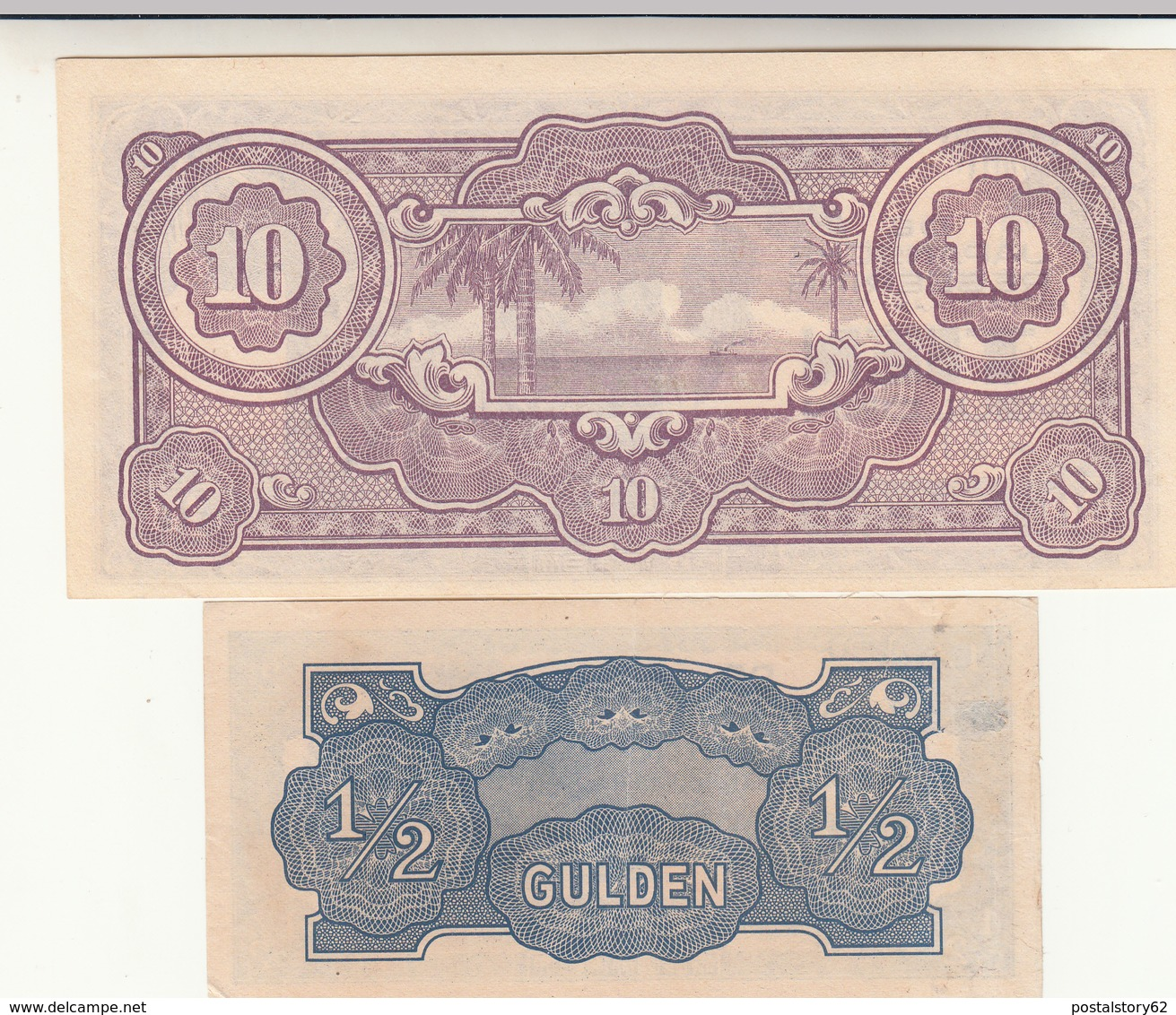 De Japansche Regeering Half Gulden + Tien Gulden Invasione Giapponese Paesi Bassi. - Paesi Bassi