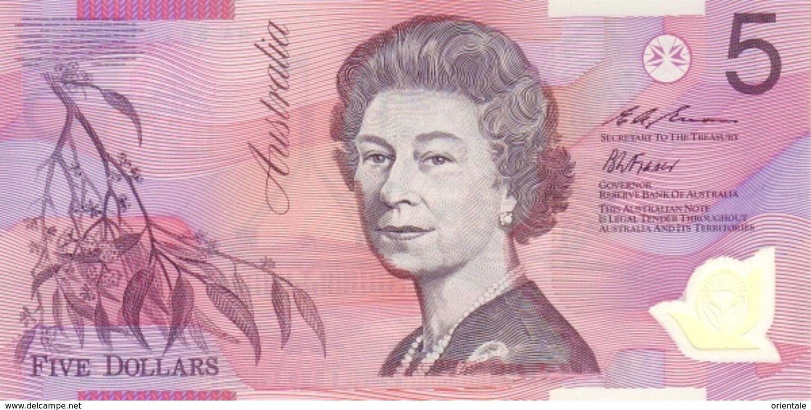 AUSTRALIA P. 51a 5 D 1995 UNC - 1974-94 Australia Reserve Bank (paper Notes)
