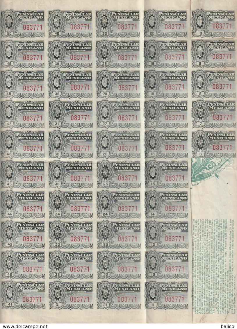 Banco Peninsular  Mexicano 1908 - Réf, 3 - Banque & Assurance