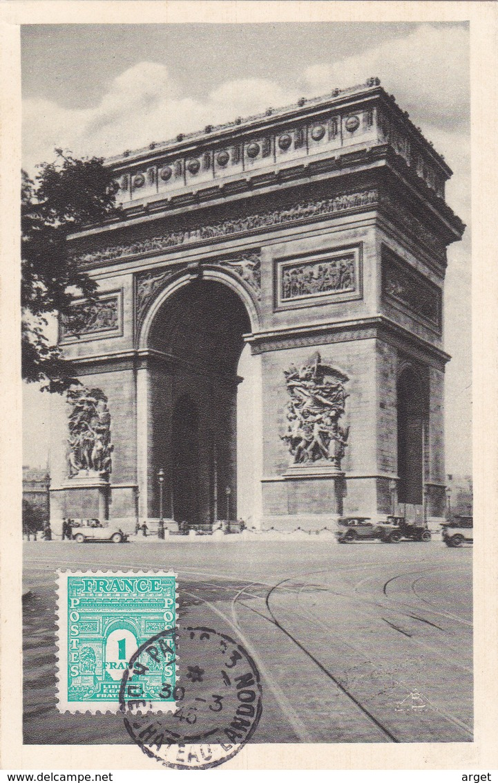Carte-Maximum FRANCE N° Yvert 624 (ARC DE TRIOMPHE) Obl Sp 30.3.45 (Ed Braun) - Maximum Cards