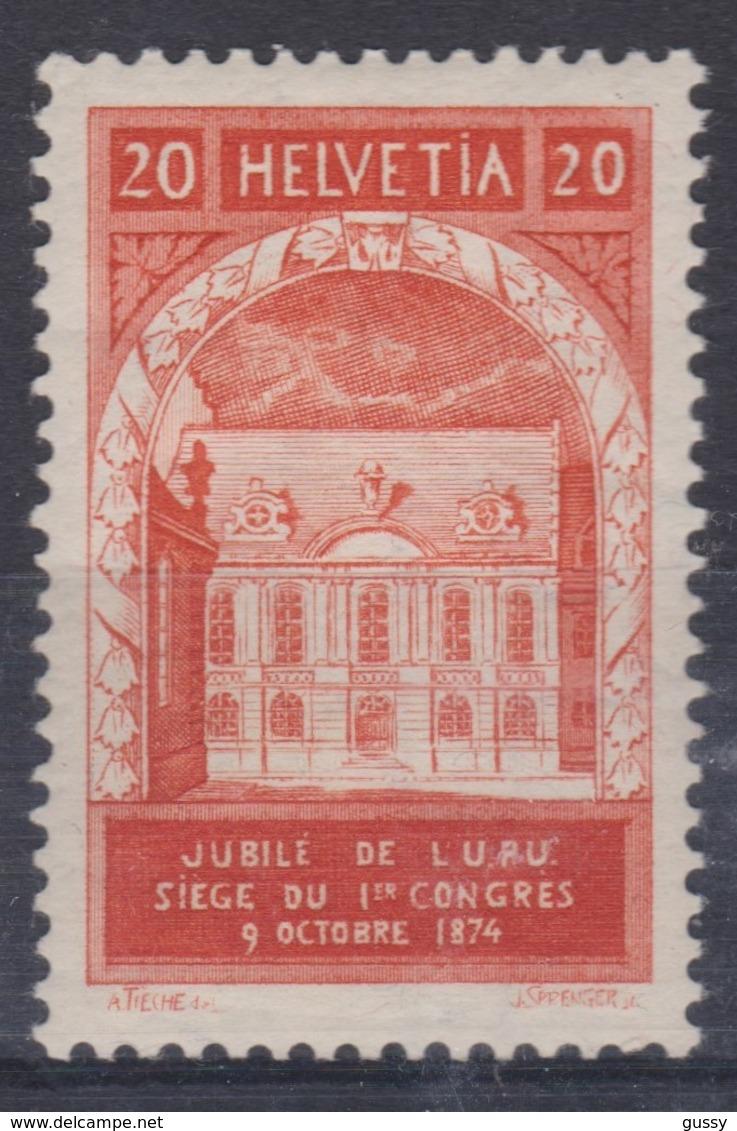 SUISSE 1924: Cinquantenaire De L'U.P.U., 20c Rouge Gomme Blanche, Neuf* (ZNr 167AI) - Schweiz