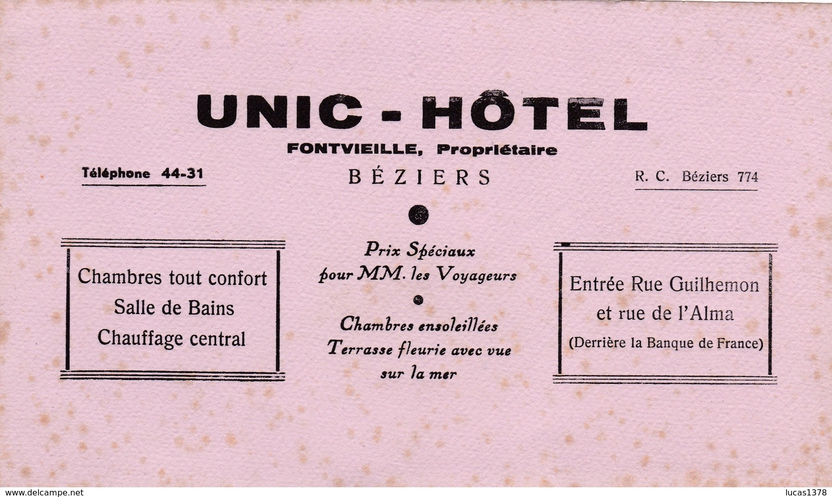 BEZIERS / UNIC HOTEL / RARE - Blotters