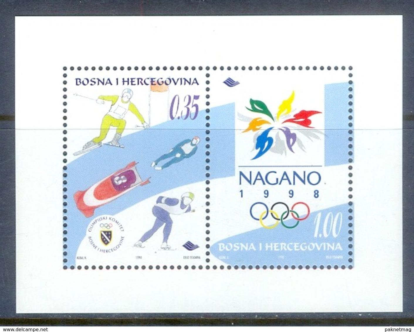 E171- Bosnia & Herzegovina 1998, Sport Olympic Games. Nagano Skiing Skating Bob Skeleton. - Other