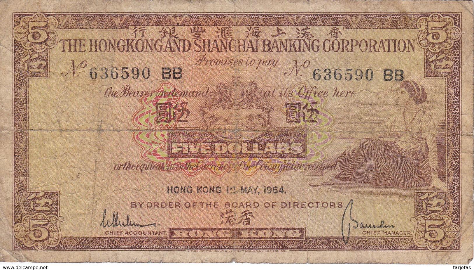 BILLETE DE HONG KONG DE 5 DOLLARS DEL AÑO 1964 (BANKNOTE) - Hong Kong