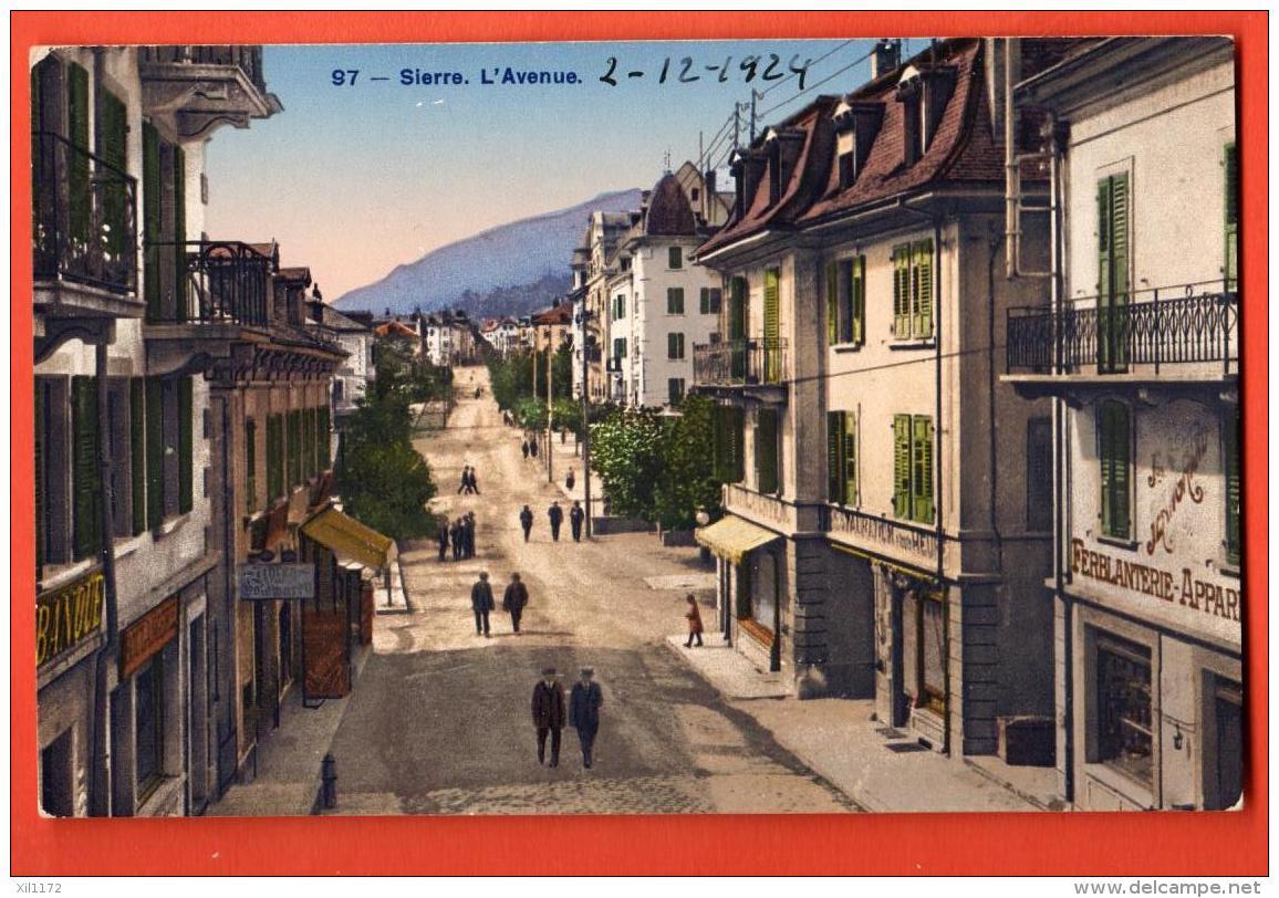 HCE-14  Sierre L'avenue, ANIME. Ferblanterie. Circulé En 1924 Sous Enveloppe.  Phototypie 97 - VS Valais