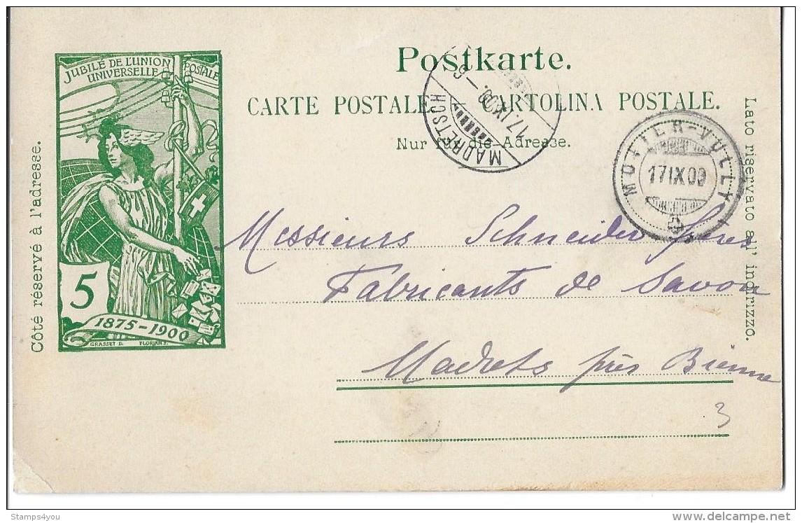 """93 - 78 - Entier Postal UPU Avec Cachet à Date  """"Motier-Vully 1900"""" - Entiers Postaux"""