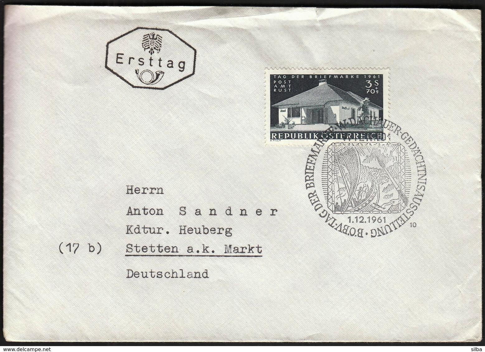 Austria Dachauer 1961 / Stamp Day / Tag Der Briefmarke / Philatelic Exhibition / Cancel No. 10 - Journée Du Timbre