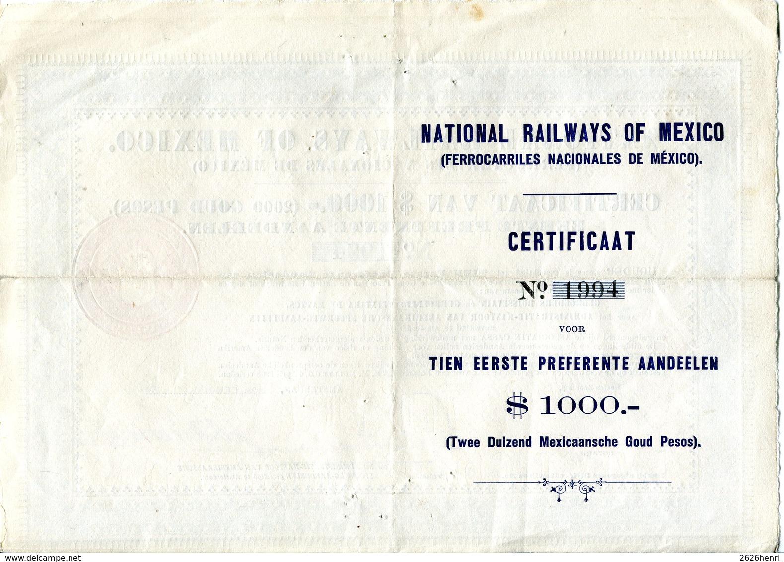 National Railways Of Mexico, Certificaat Van $ 1000 1926 - Chemin De Fer & Tramway