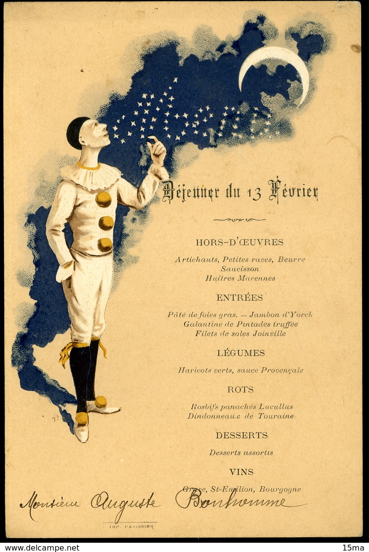 Menu Illustré Déjeuner Du 13 Février 12x17cm - Menus