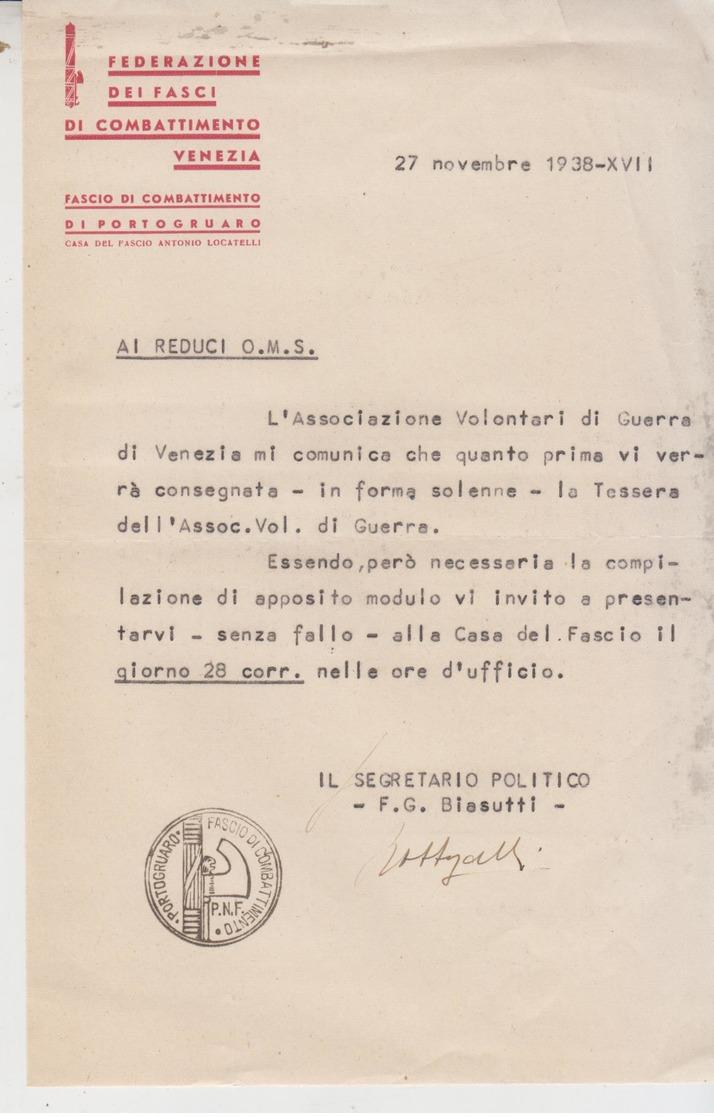 Venezia Federazione Dei Fasci Di Combattimento 1938 Portogruaro   G/t - Documenti Storici