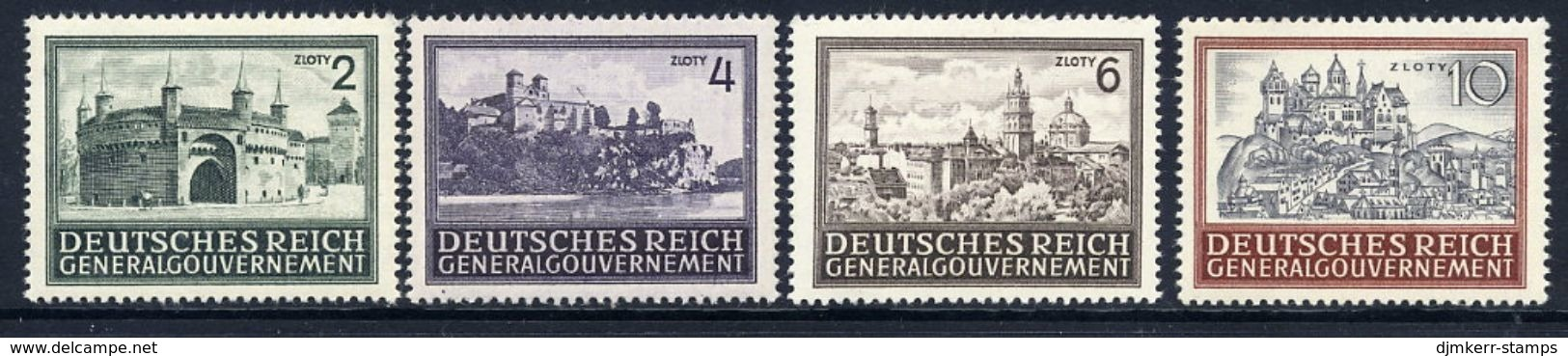 GENERAL GOVERNMENT 1943 Buildings Definitive Set Of 4 MNH / **.  Michel 113-16 - Occupation 1938-45