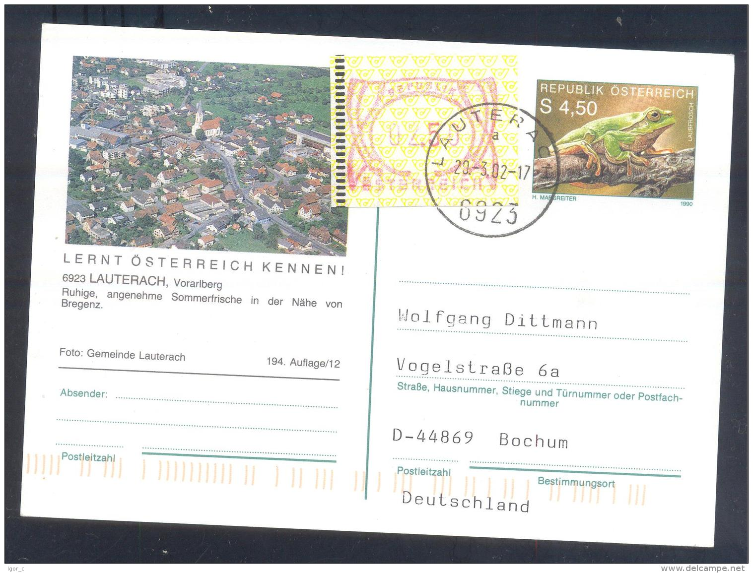 Austria Postal Stationery 2002: Fauna Frog Laubfrosch; SLAUTERACH Tourism Church Kirche Frama 2,50 - Holidays & Tourism