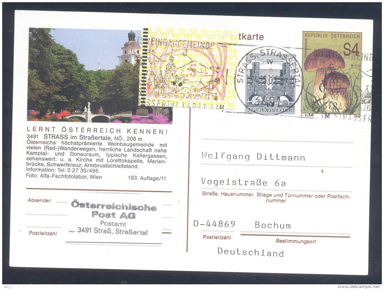 Austria Postal Stationery 2002: Flora Mushroom Fichtenstein Pilze ; STRASS Tourism;  Church Kirche Slogan; Frama 2,50 - Holidays & Tourism