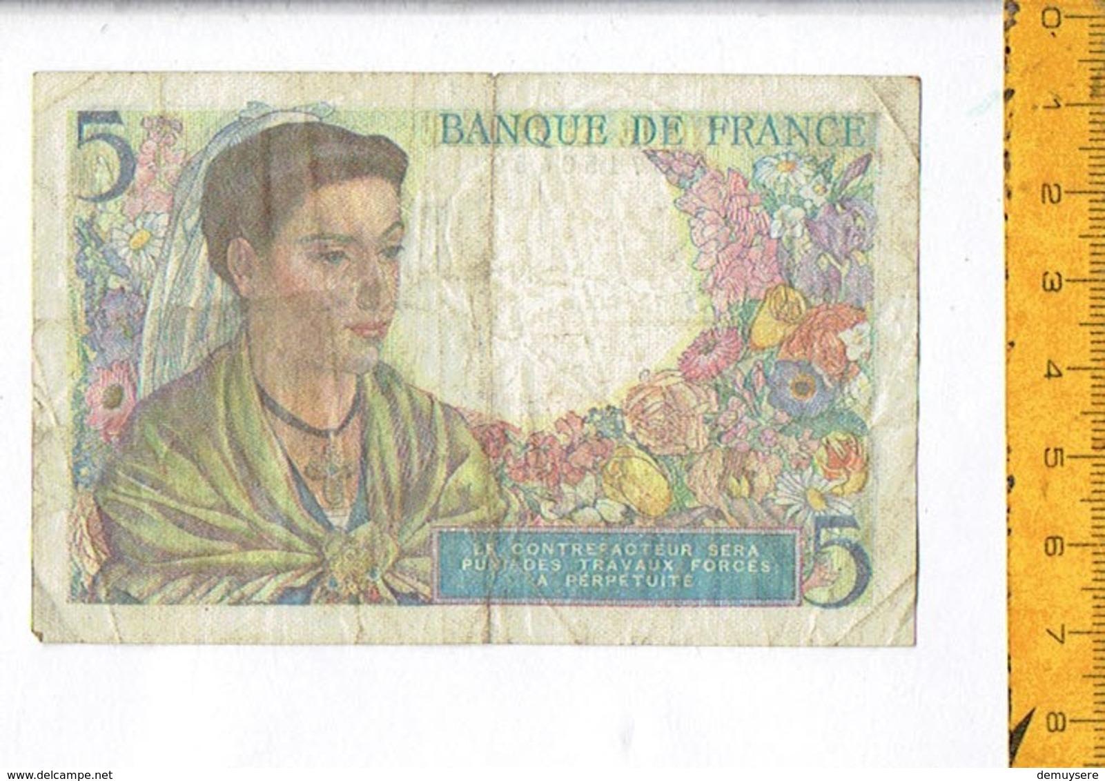 BANQUE DE FRANCE CINQ - 5 F 1943-1947 ''Berger''