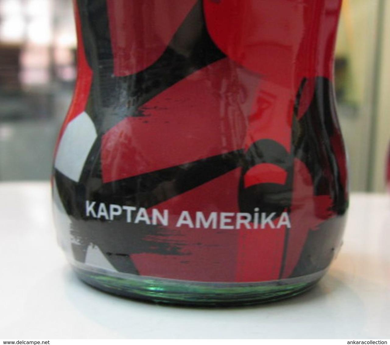 AC - COCA COLA MARVEL AVENGERS 2018 CAPTAIN AMERICA - KAPTAN AMERIKA SHRINK WRAPPED EMPTY GLASS BOTTLE & CROWN CAP - Botellas