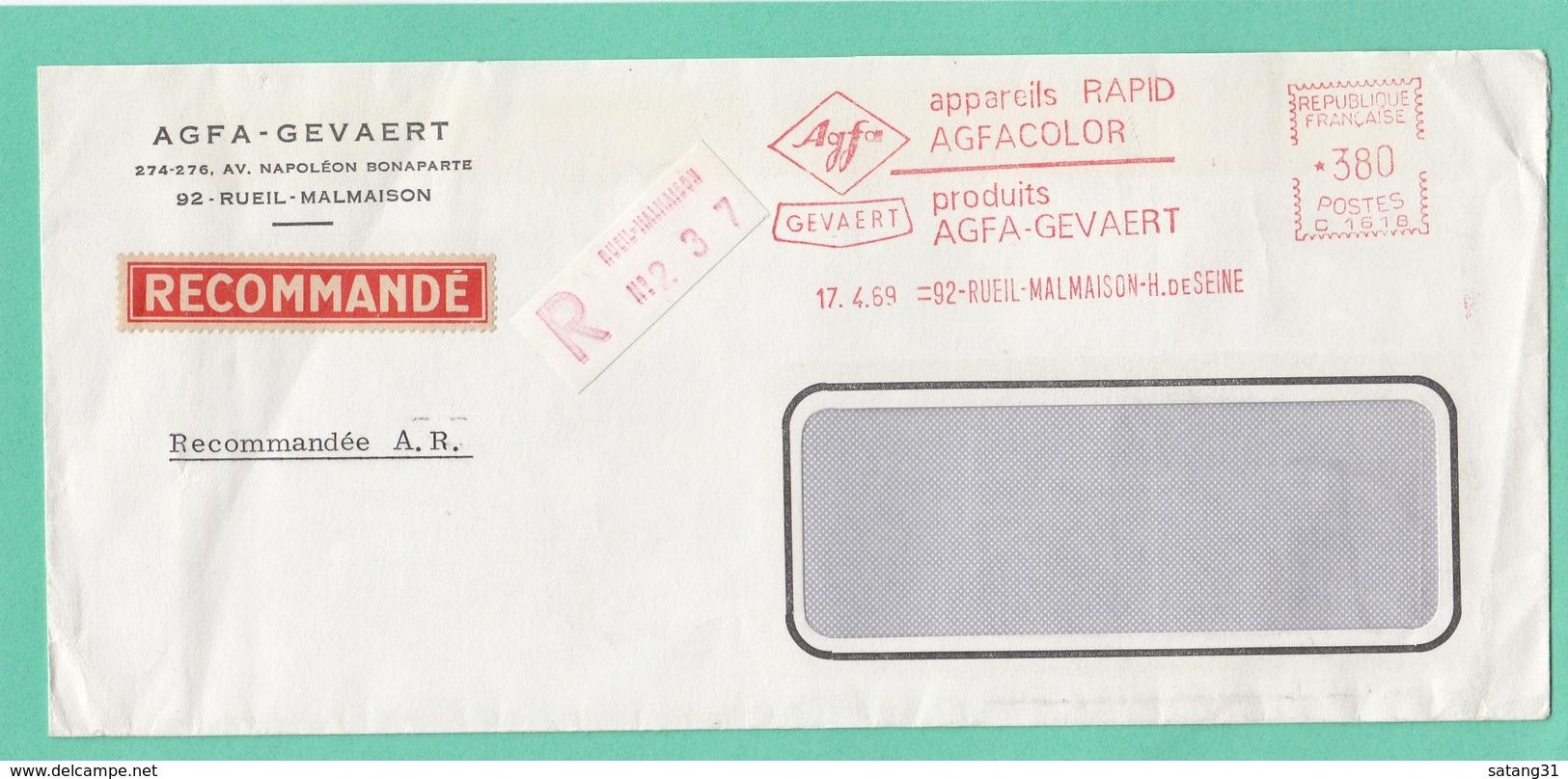 """LETTRE RECOMMANDÉE DE """"AGFA-GEVAERT"""" AVEC E.M.A. DE RUEIL-MALMAISON. - Poststempel (Briefe)"""