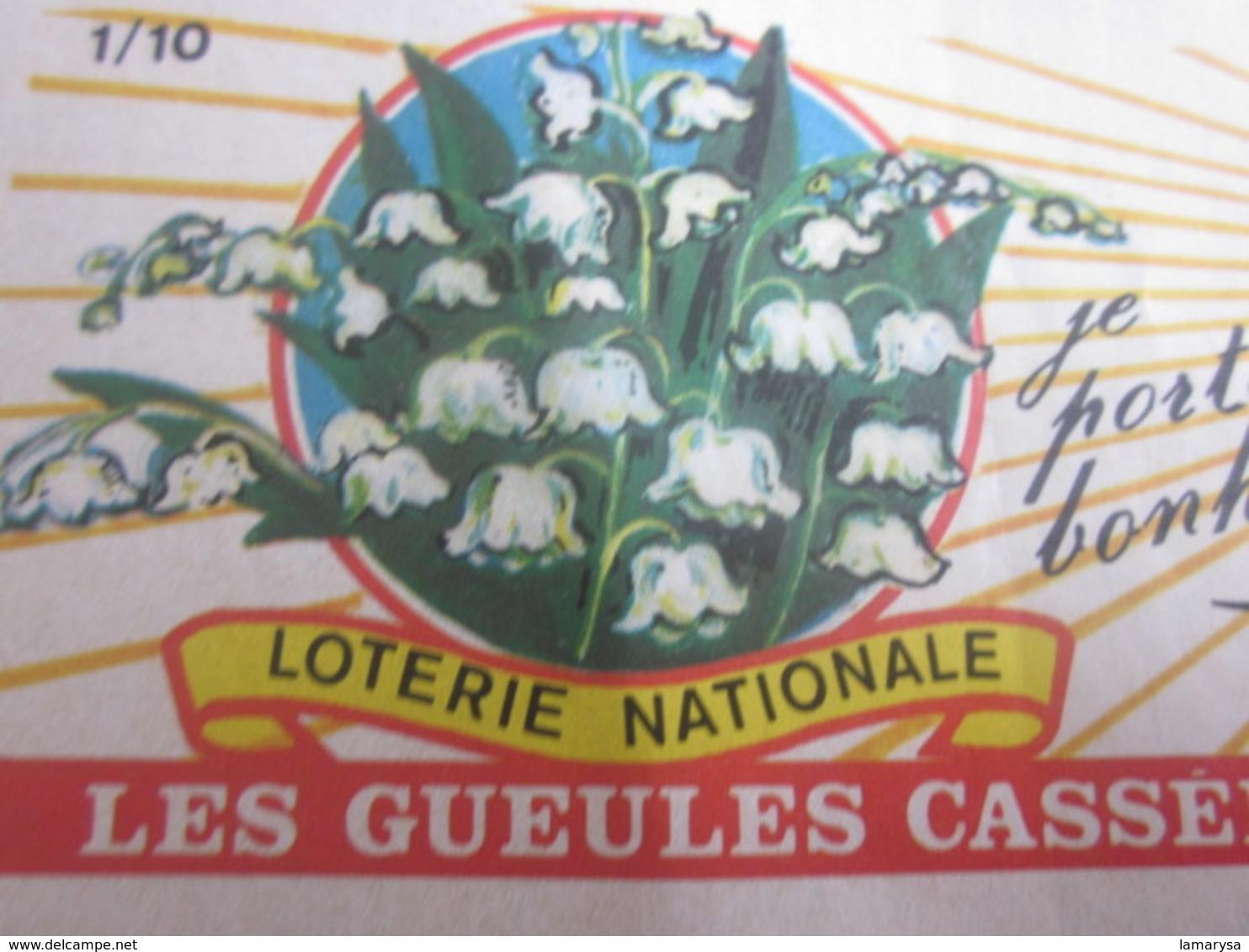 Billet Loterie Nationale Française Les Gueules Cassées Tranche Muguet 1975 Vignette Taille Douce Lottery-Scratch-Ticket - Billets De Loterie