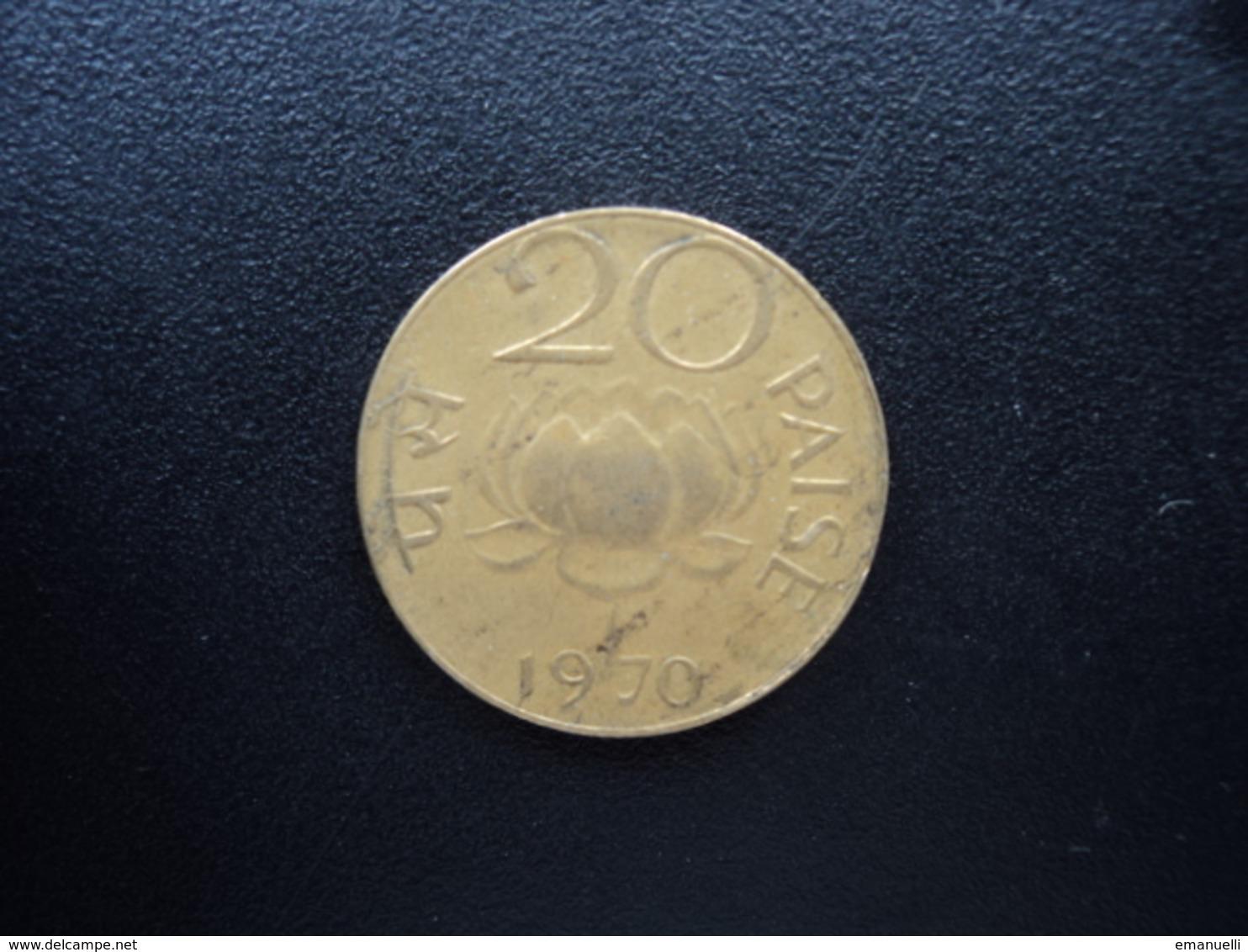 INDE : 20 PAISE  1970 (C)  KM 41    TTB - India