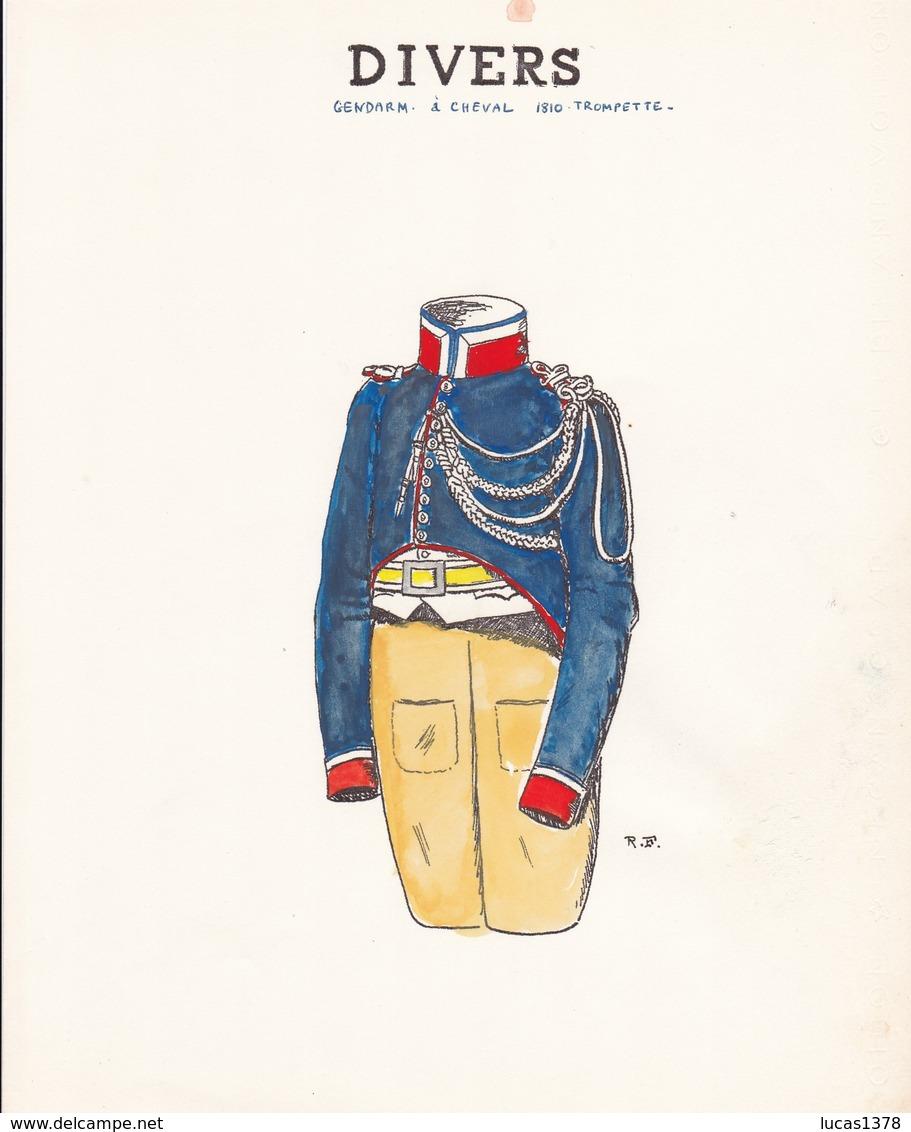 3 MAGNIFIQUES PLANCHES UNIFORMOLOGIQUE LANCIERS GENDARMES / COLOREES A LA MAIN / TRES BEAU PAPIER  / RARE ++ - Uniforms