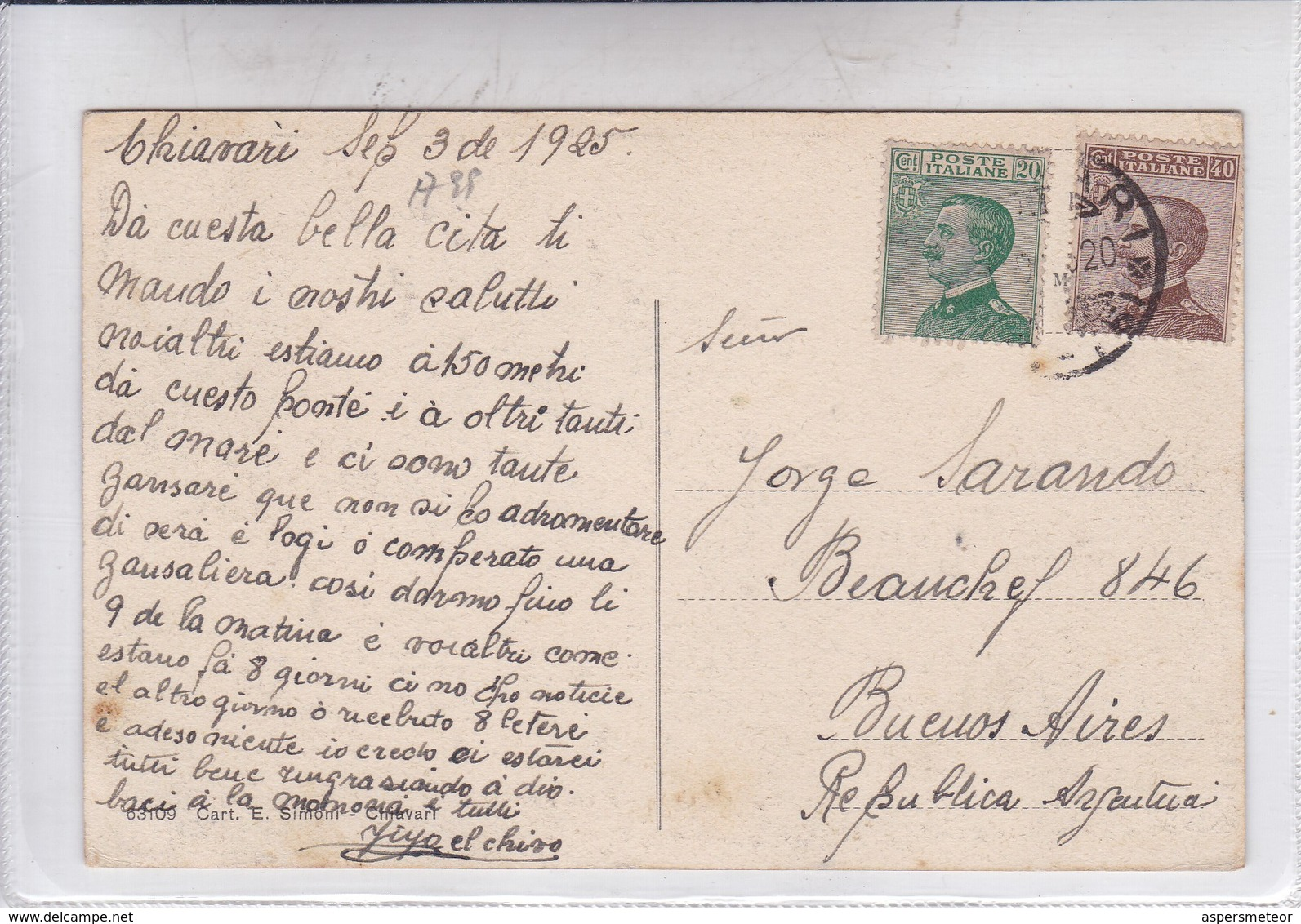 CHIAVARI. ENTELLA, PONTE FERROVIANO. CIRCULEE TO BUENOS AIRES. ITALIA-BLEUP - Genova (Genoa)