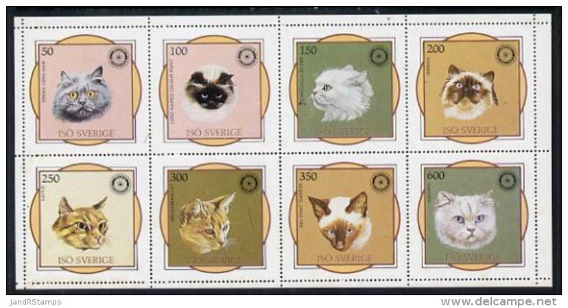 3748 Iso - Sweden 1984 Rotary - Domestic Cats Perf Sheetlet Containing Complete Set Of 8 Values (50 To 600) Unmounted Mi - Domestic Cats