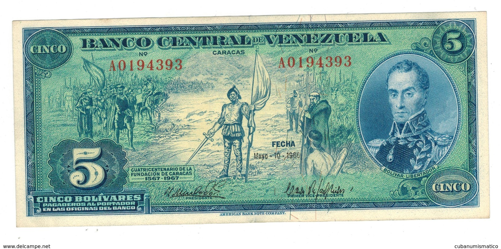 Venezuela 5 Bs 1966, Series A , Comm. Issue . XF+. - Venezuela