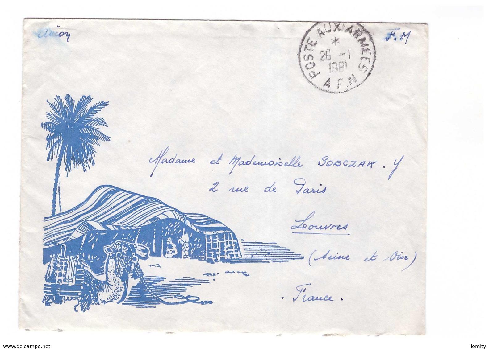 FRANCE Guerre D' Algérie Lettre Illustrée Par Avion Poste Aux Armées AFN 26.1. 1961 Pout Louvres Brigadier SP 88207 - Storia Postale