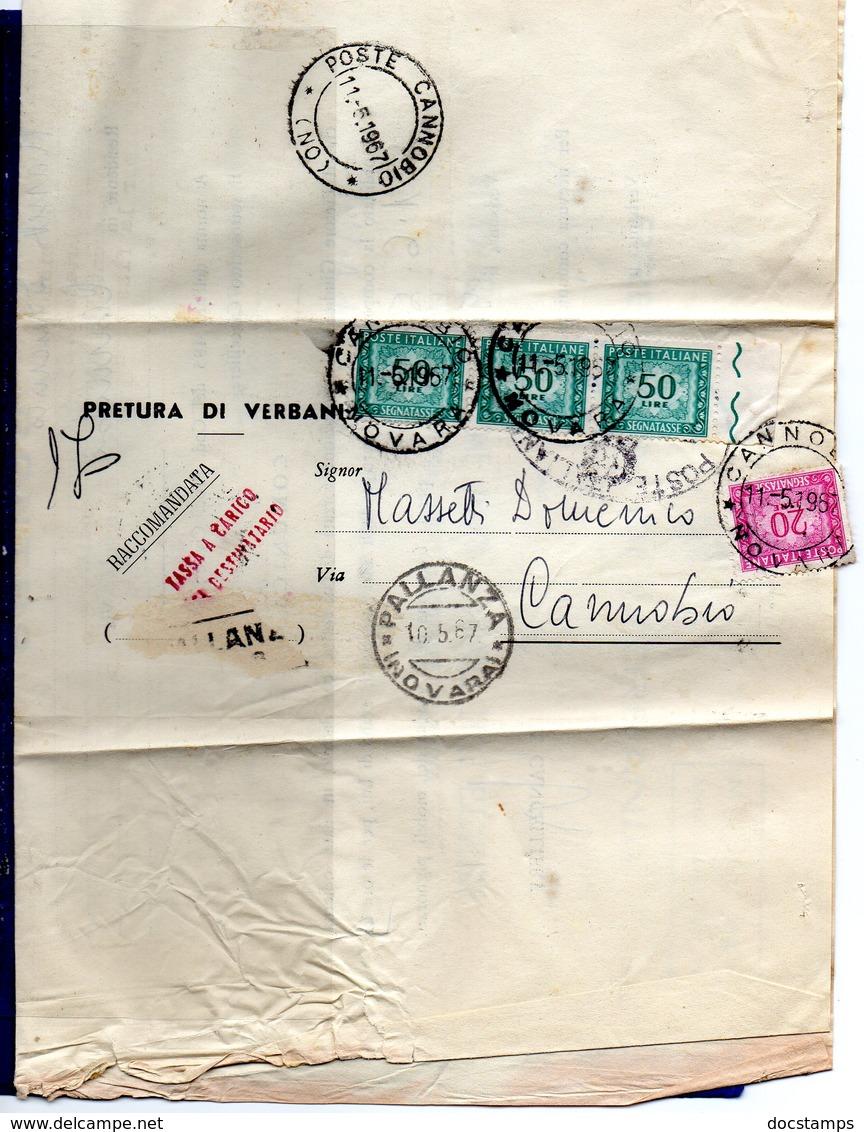 ##(DAN185)-1967- Piego Raccomandato Tassa A Carico Assolta Con  L.170 Segnatasse Da Pallanza Per  Cannobbio - 1946-.. République