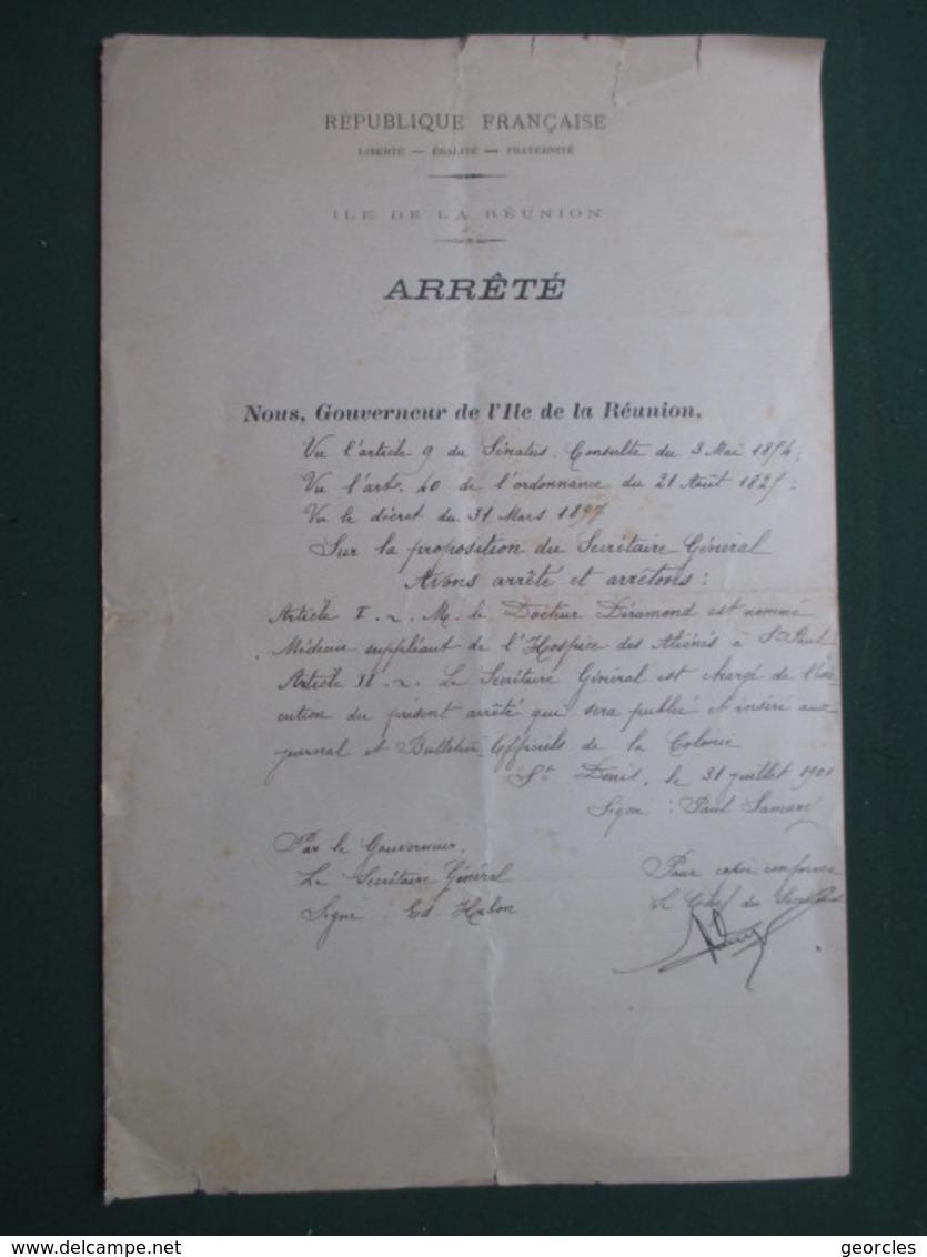 REUNION - NOMINATION  A  ST.PAUL DU DOCTEUR  DERAMOND OCTAVE ,  PERE DE RAYMOND BARRE  ( 34 CM  X 22 CM  ) - Sin Clasificación