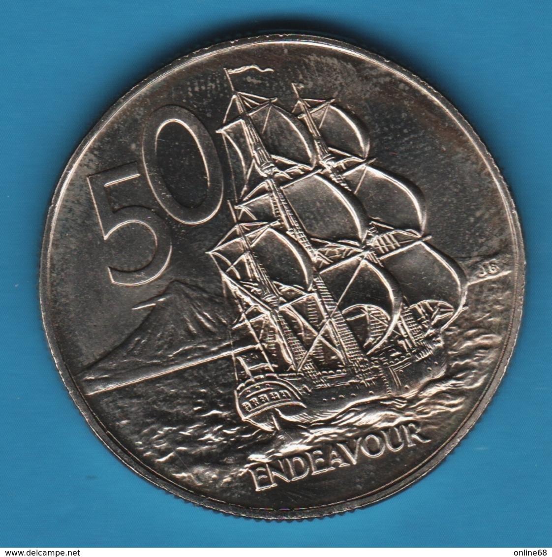 NEW ZEALAND 50 CENTS 1978  KM# 37 HMS Endeavour BATEAU - Nouvelle-Zélande