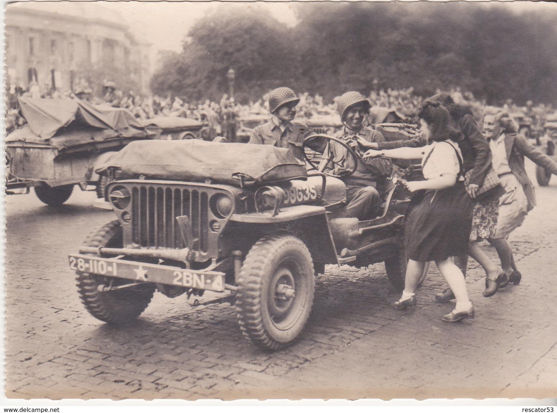 Rare Cpa  Américains Une Jeep à Paris - 1939-45