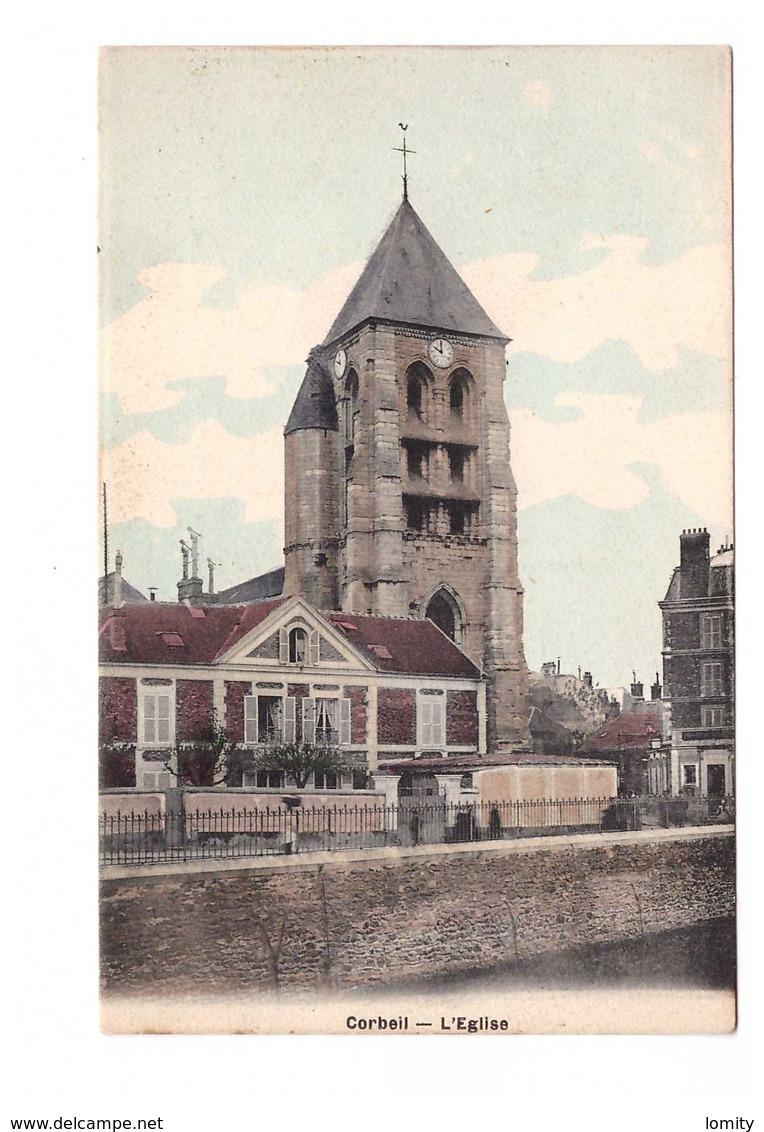 91 Corbeil Eglise Cpa Colorisée - Corbeil Essonnes