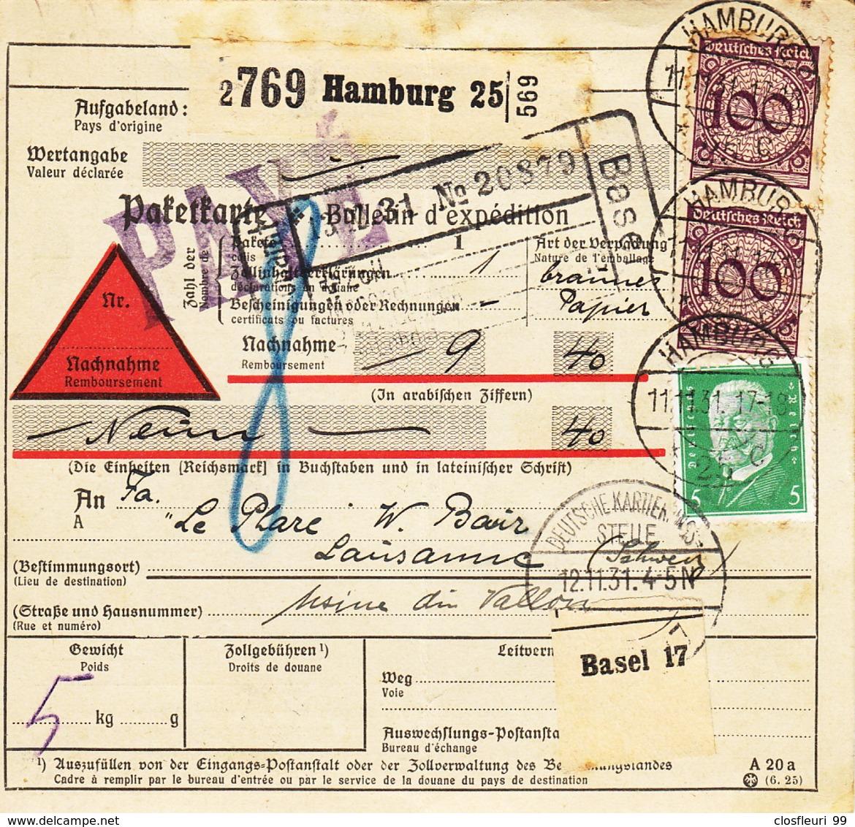 Paketkarte, Bulletin D'expédition Hannover-Buchholz, Hamburg, 1931 - Germany
