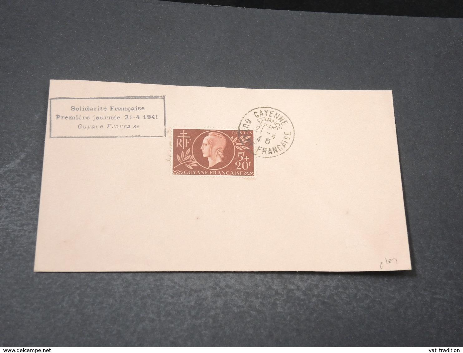 GUYANE- Oblitération De Cayenne France Libre En 1945 Sur Enveloppe , Au Verso Oblitération De St Elie ( Inini )- L 17185 - Guyane Française (1886-1949)