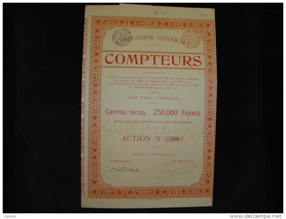 """Action""""Cie Generale Des Compteurs""""Bruxelles 1902 Bon état,avec Tous Les Coupons - Industrie"""