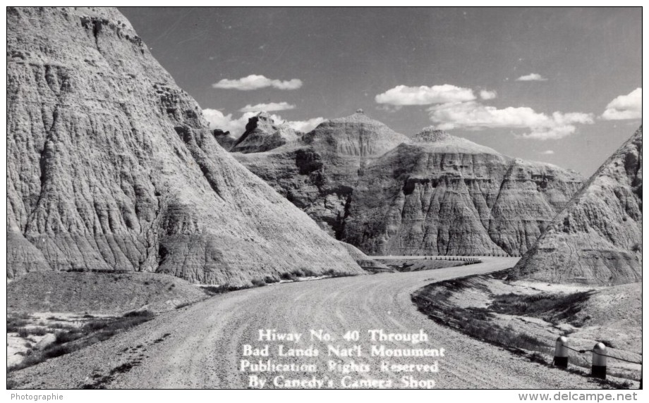 South Dakota Badlands National Park Highway 40 Carte Photo Canedy's Camera Shop 1940 - Other