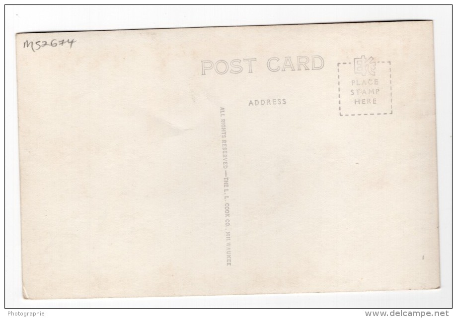 Nebraska National Guard Falls City Armurerie Ancienne Carte Photo LL Cook EKC 1940 - United States